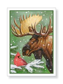 Christmas Cards: Moose & Cardinal