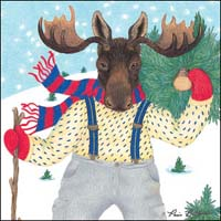 Moose in Snow Shoes Gift Card