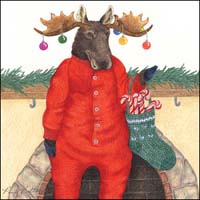 Moose with Ornaments on Antlers Small Gift Card