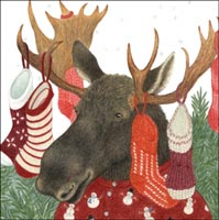 Holiday Moose with Stocking on Antlers Gift Card - Click Image to Close
