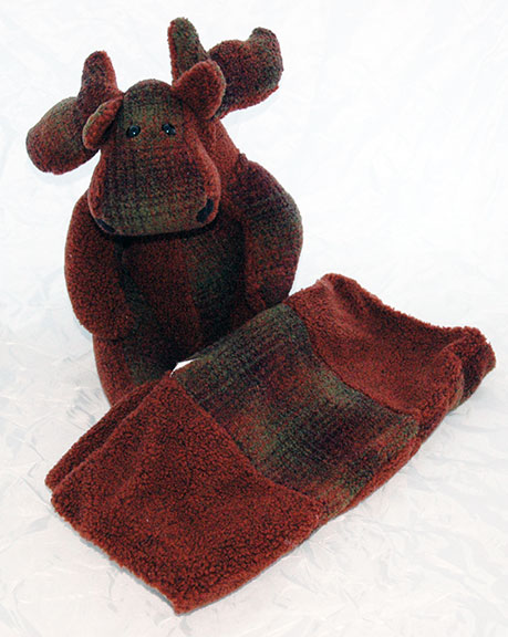 Adopt a Moose - Brown & Green Plaid with Matching Blanket