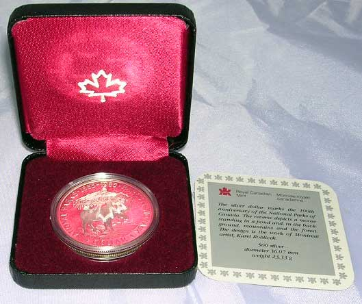 1985 Canada Moose National Parks Silver Coin - Click Image to Close