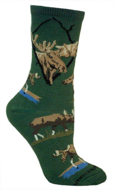 Moose on Hunter Green Socks - Large