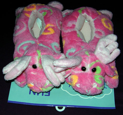 Small Pink Swirl Slippers - Toddler Size - Click Image to Close