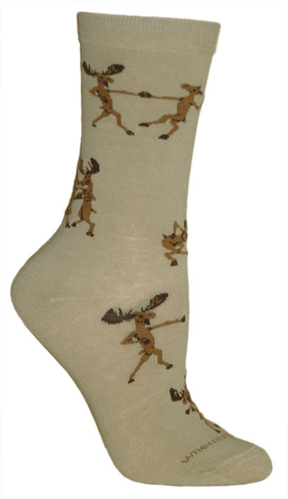 Dancing Moose Tan Sock - Medium - Click Image to Close
