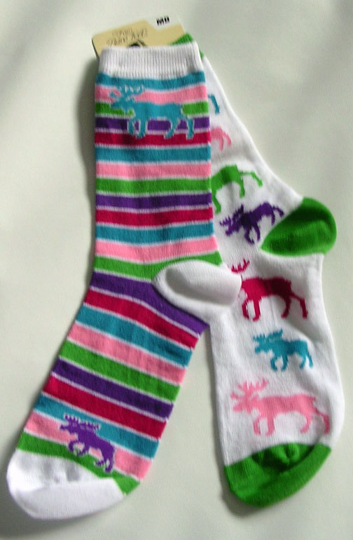 Mismatched Moose Socks - Medium