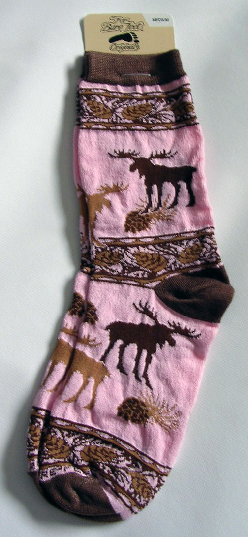 Pink & Brown Pinecone Moose Design Socks - Medium