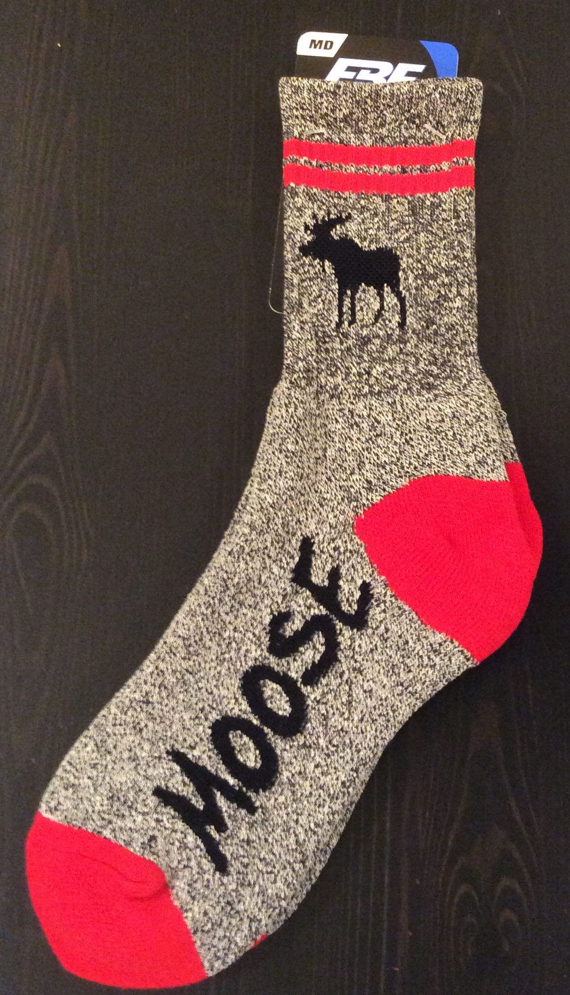 Gray with Red Heels Moose Sock - Medium