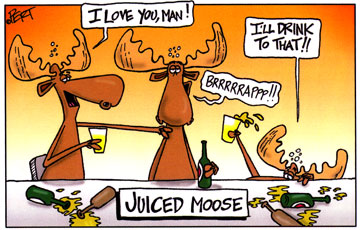 Juiced Moose Cartoon Magnet
