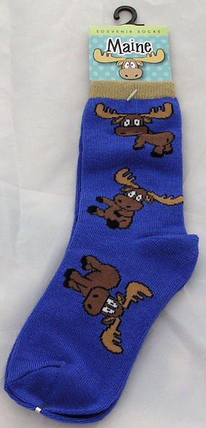 Blue Cartoon Moose Child's Socks