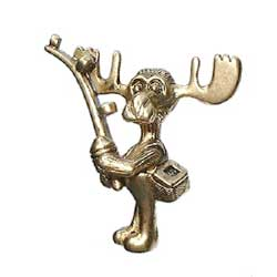 Markie Moose - Fisherman Moose Pin in Gold