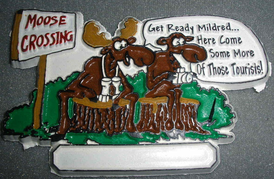 Moose Crossing Cartoon Vinyl Magnet