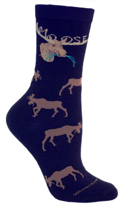 Black Name in Rack Moose Socks - Large