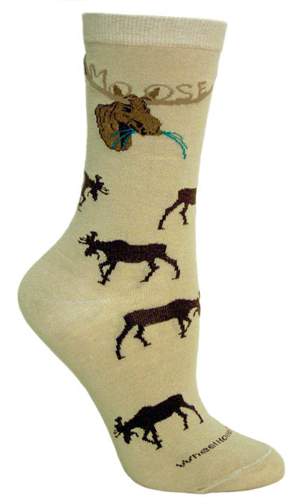 Kahki Name in Rack Moose Socks - Medium