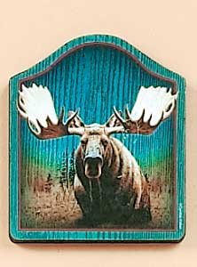 Wooden Moose Fridge Magnet Sign