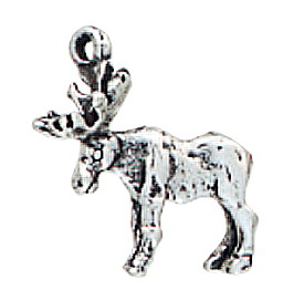 Sterling Silver Moose Charm - Ring at Antlers