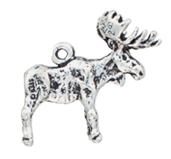 Sterling Silver Moose Charm - Ring on Back - Click Image to Close