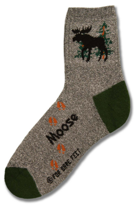 Gray with Green Heels Moose Sock - Medium