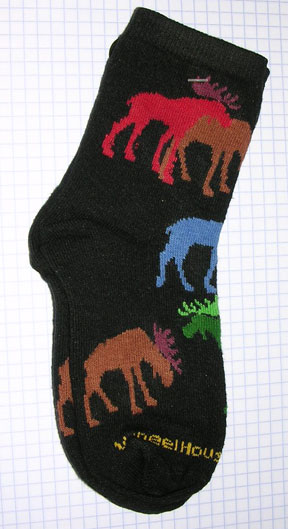 Multi Colored Moose on Black Sock - Child 6-8