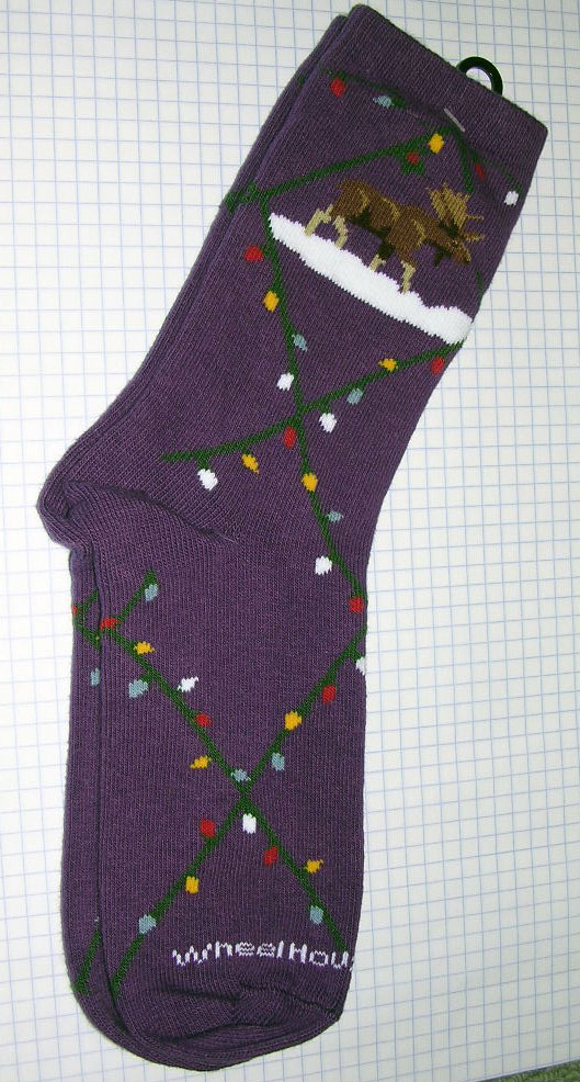 Purple Christmas Moose Socks - Large