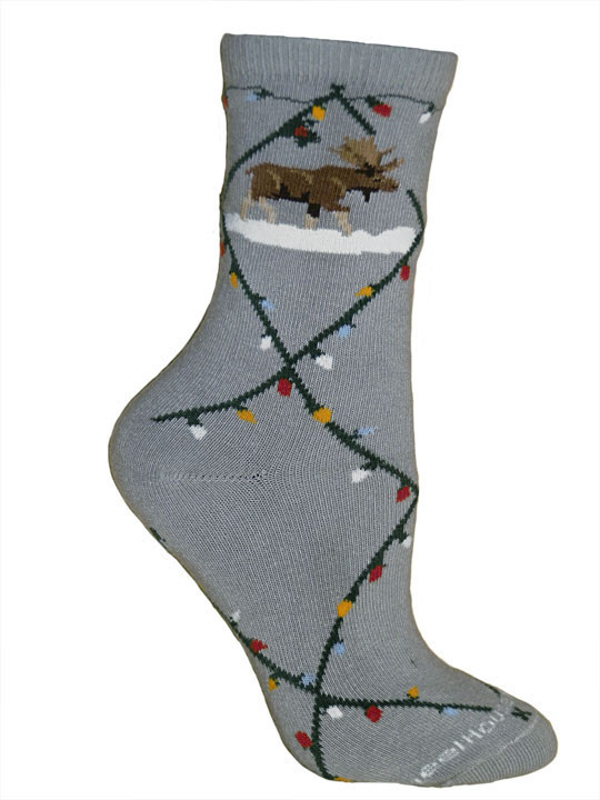 Gray Christmas Lights Socks - Medium