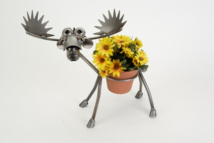 Metal Moose Plant Pot Holder