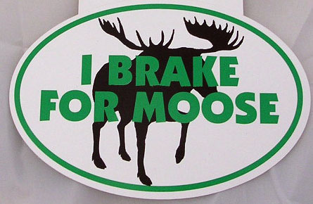 I Brake for Moose Euro Decal