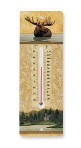 North Woods Moose Ceramic Thermometer