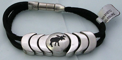 Stylish Metal Moose Bracelet with Black Leather