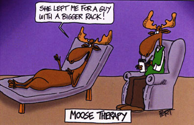 Moose Therapy Cartoon Magnet