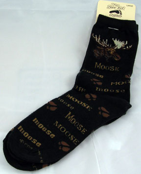 Black and Brown Moose Print Socks