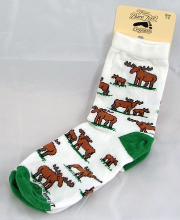 White Moose Cartoon Socks with Green Accents