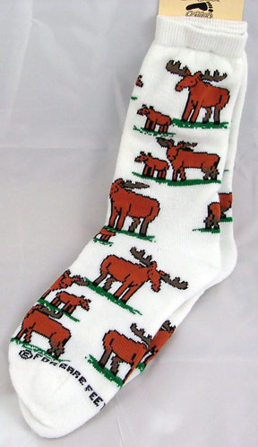 White Moose Cartoon Socks