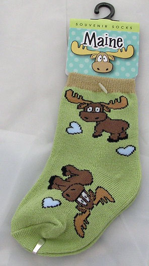 Small Green Cartoon Moose Child's Socks