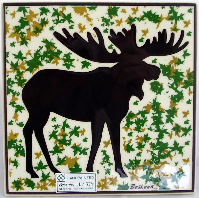Hand Painted Moose Tile - Daytime