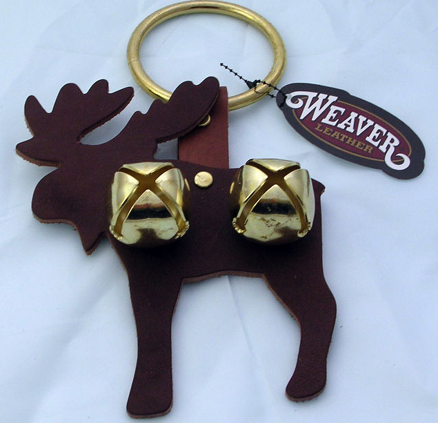 Leather Moose Door Hanger with Sleigh Bells - Red - Click Image to Close