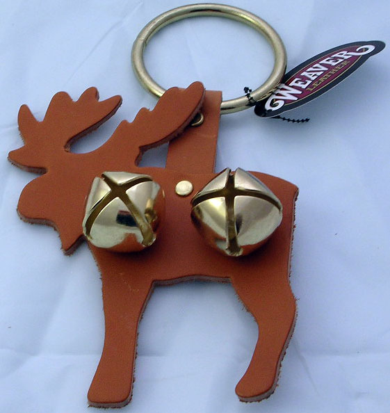 Leather Moose Door Hanger with Sleigh Bells - Tan