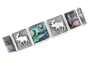 Sterling Silver Inlaid Moose Stretch Bracelet